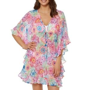 Bright Here, Bright Now Ruffled Floral Caftan